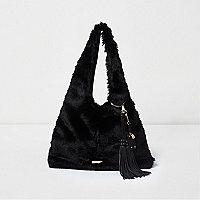 Schwarze Oversized Wasche aus Kunstfell