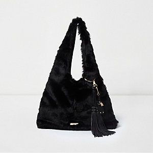 Black faux fur oversized slouch bag