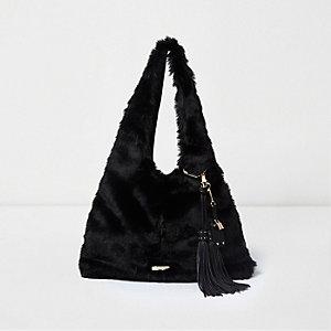 Zwarte oversized tas van imitatiebont