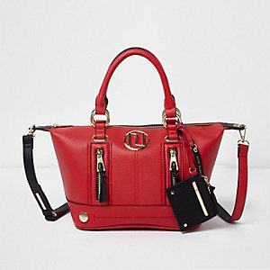 Red zip front bowler tote bag
