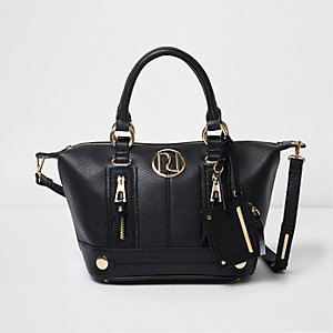 Black zip front bowler tote bag