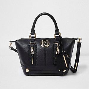 Black zip front bowler tote bag