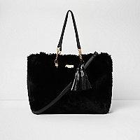 Schwarze Tote Bag mit Kunstfellquasten