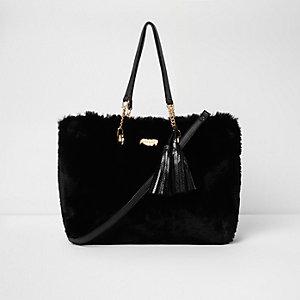 Black faux fur front tassel large tote bag