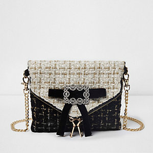 Cream boucle bow front cross body bag
