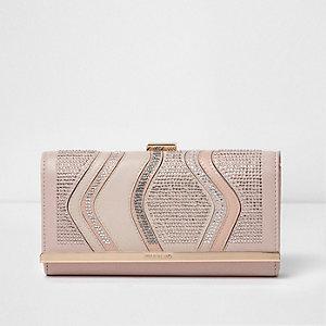 Roze verfraaide portemonnee met druksluiting en diamantjes