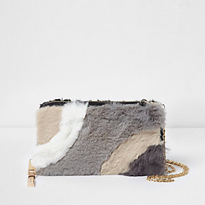 Cream faux fur panelled purse