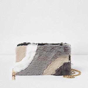 Cream faux fur panelled purse