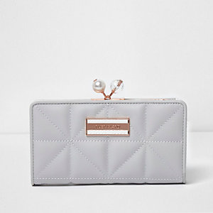 Grey quilted clip top purse