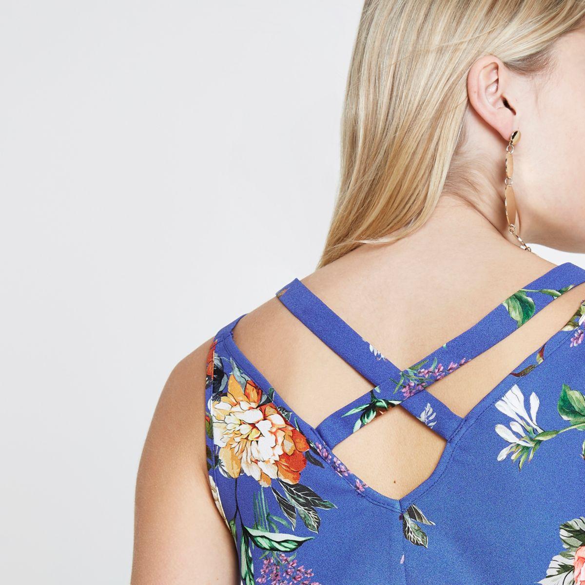 Petite blue floral double strap cross vest