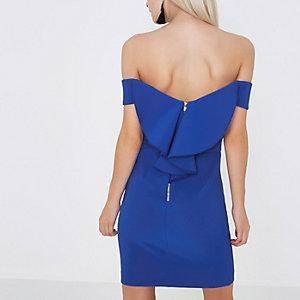 RI Petite - Blauwe bodycon mini-jurk in bardotstijl met ruches