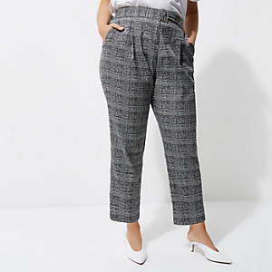 Plus – Pantalon fuselé à carreaux gris