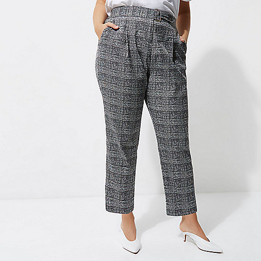 Plus grey check tapered leg trousers