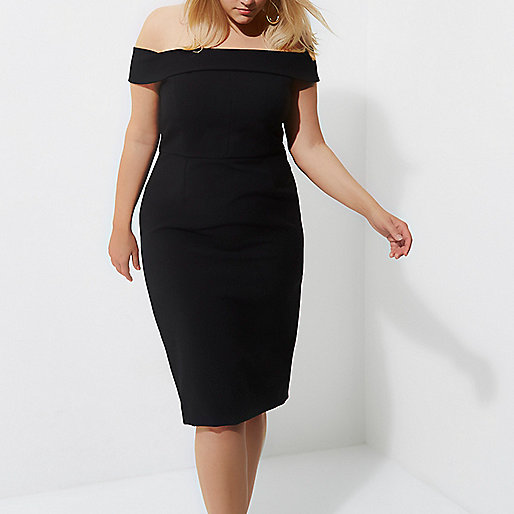 Plus black bodycon frill back midi dress