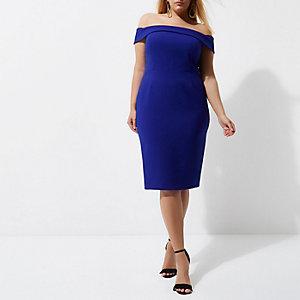 Plus – Robe Bardot moulante mi-longue bleue