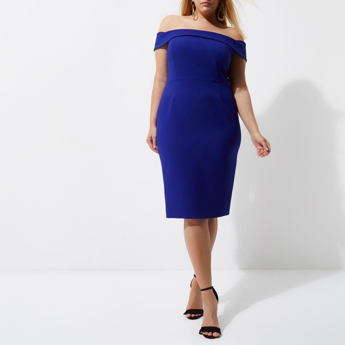 Plus blue bardot bodycon midi dress