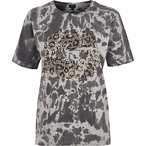 T-shirt boyfriend imprimé lèvres thermocollé effet tie-dye gris
