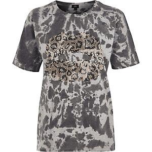 Grijs tie-dye boyfriend T-shirt met heatseal lippen-print