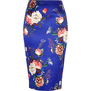 Blue floral print satin finish pencil skirt