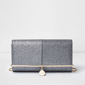 Silver glitter bar top clutch bag