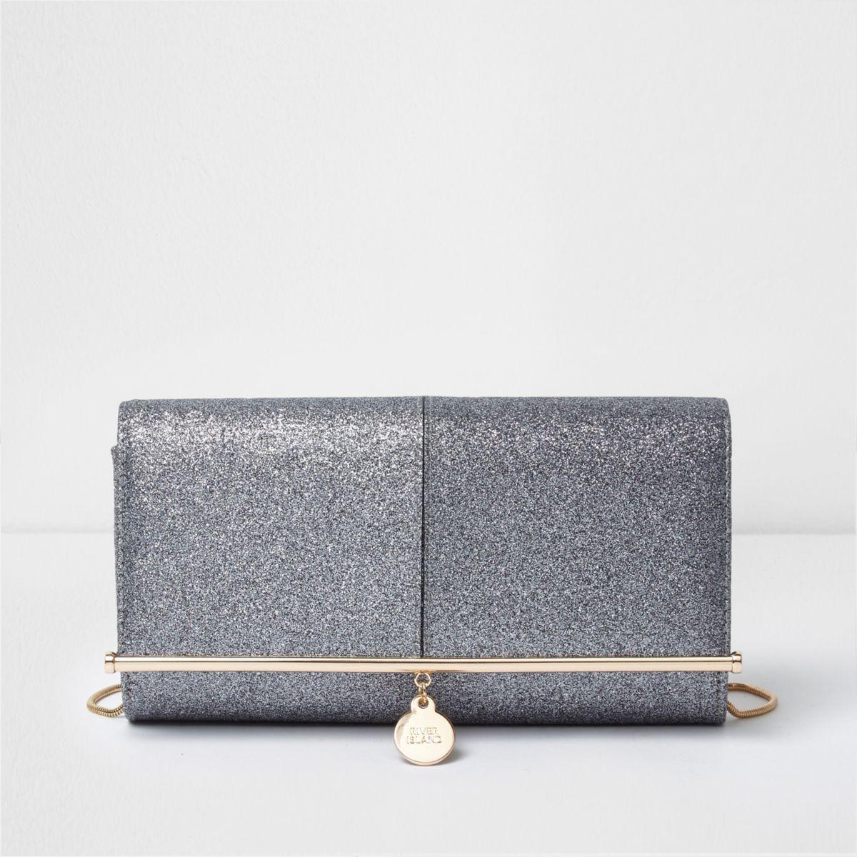 Silver glitter bar top clutch bag