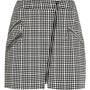 Black check biker mini skirt