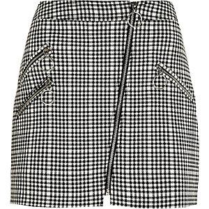 Black check biker mini skirt