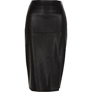 Black faux leather side split pencil skirt