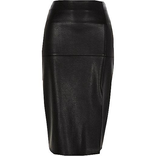 Black faux leather side split pencil skirt