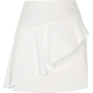 White aymmetric frill front mini skirt