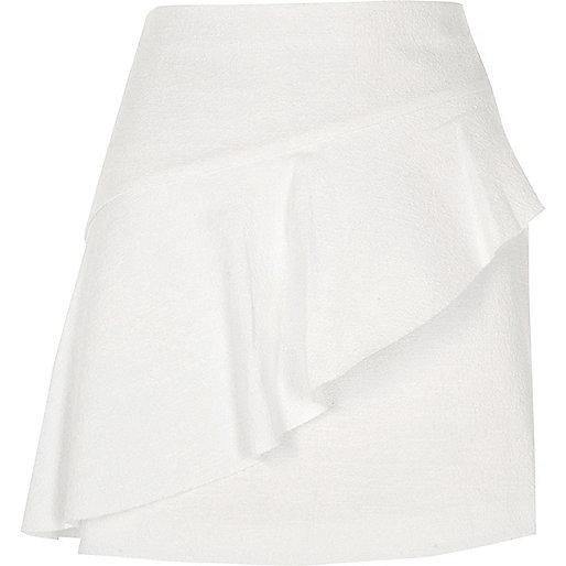 White aymmetric frill front mini skirt