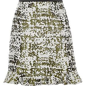 Green burnout print frill hem mini skirt