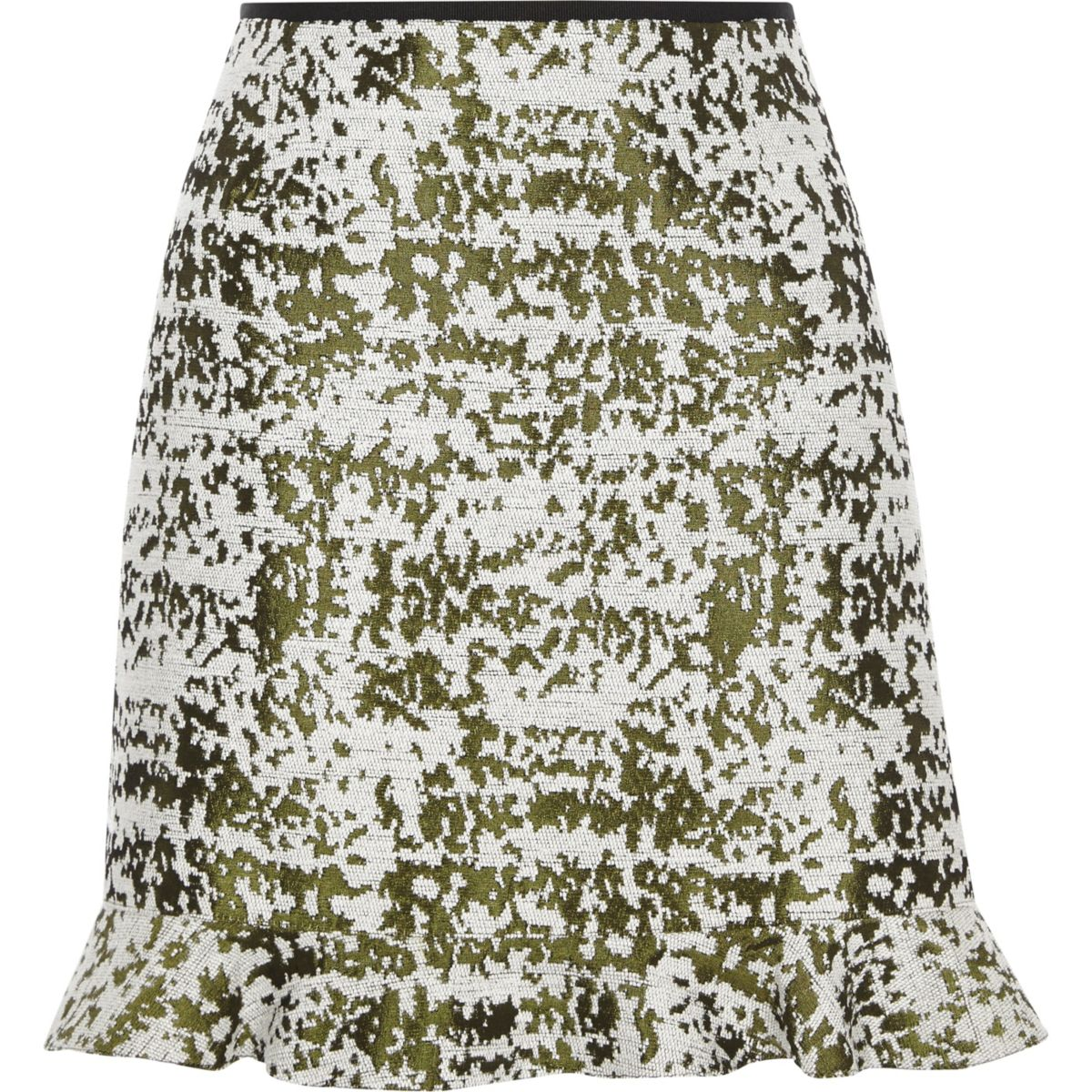 Green burnout print frill hem mini skirt