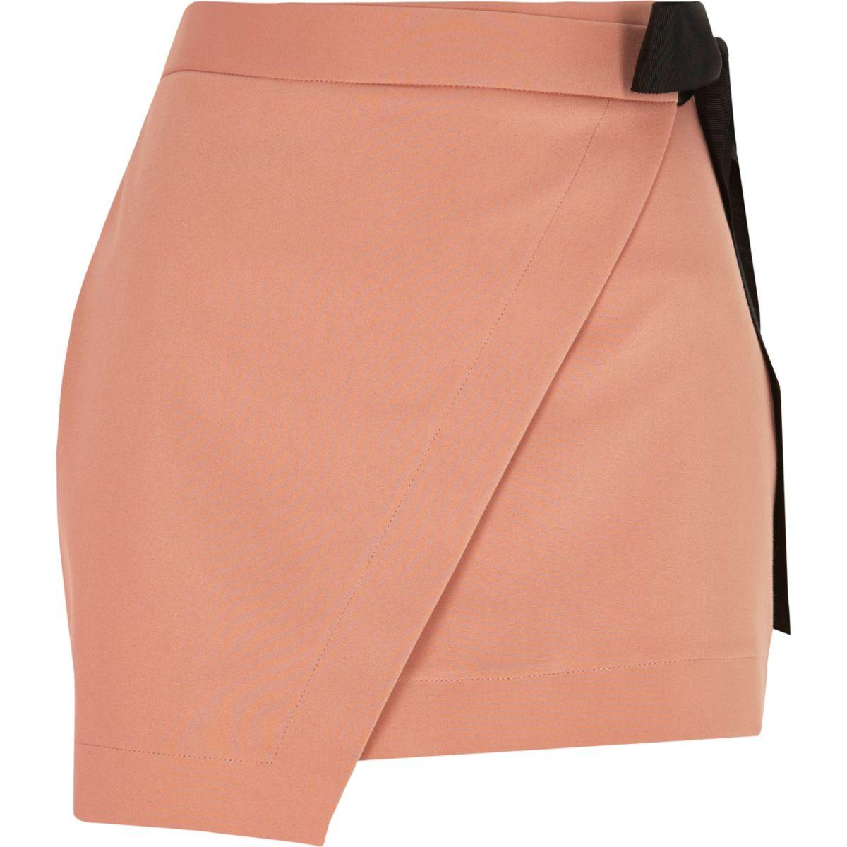 Pink structured wrap front skort