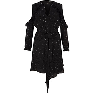 Black polka dot cold shoulder tie waist dress