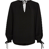 Black balloon sleeve tie-up top