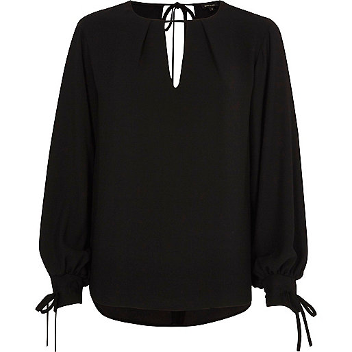 Black balloon sleeve tie-up top