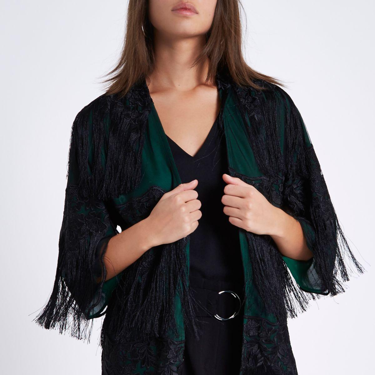 Dark green sheer tassel lace kimono
