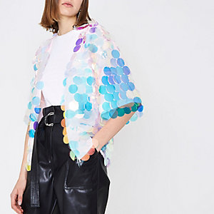 Light pink iridescent disc sequin kimono