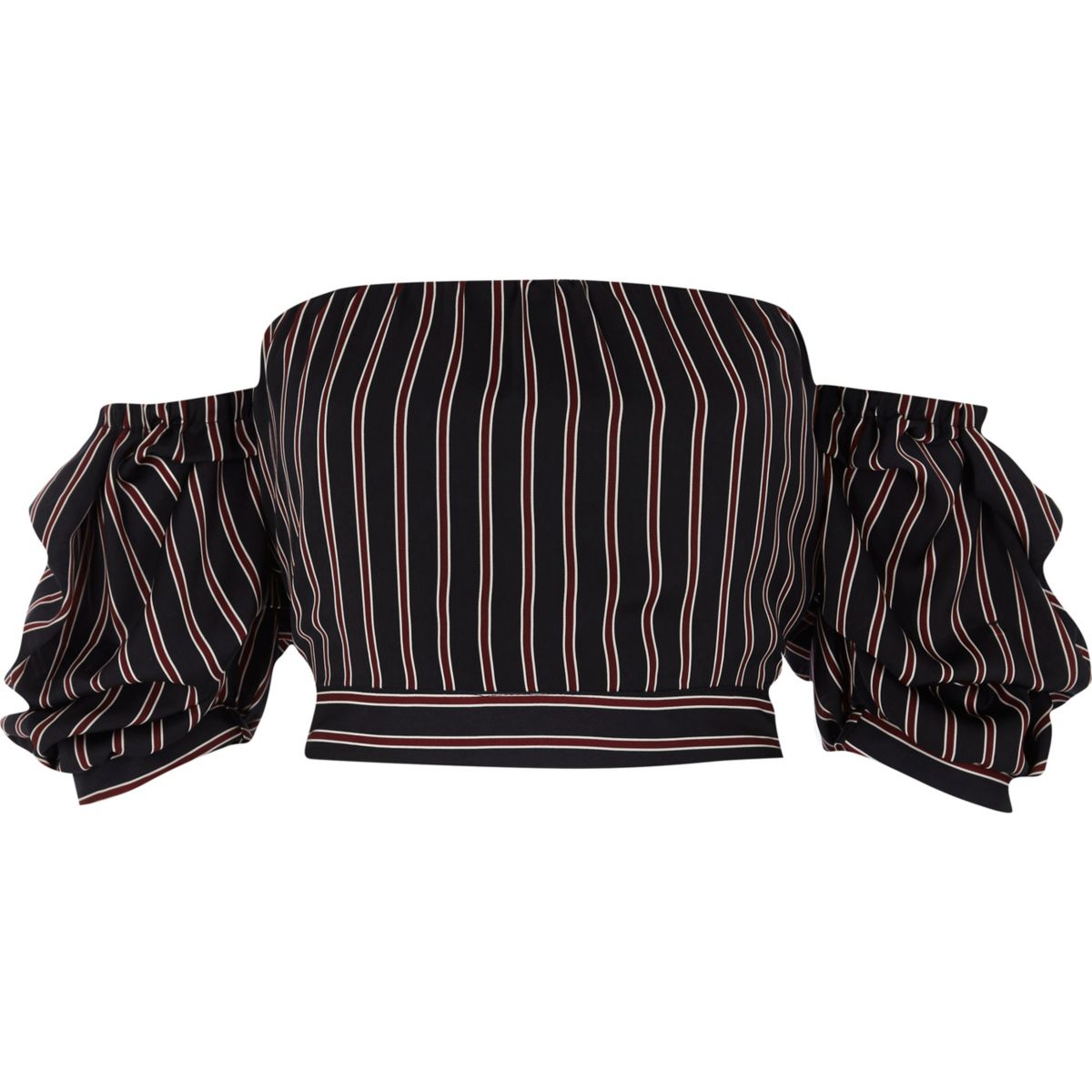 Navy stripe puff sleeve bardot crop top