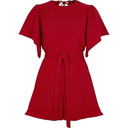 Red tie waist short sleeve playsuit