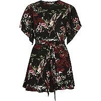 Black floral print flare sleeve tie playsuit