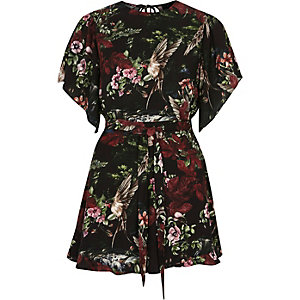 Black floral print flare sleeve tie playsuit