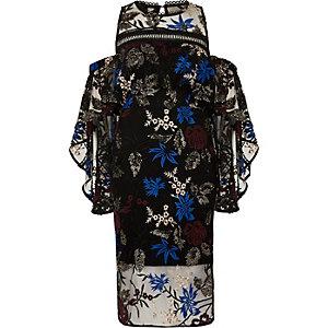 Zwarte geborduurde midi-jurk met ruches en lagen