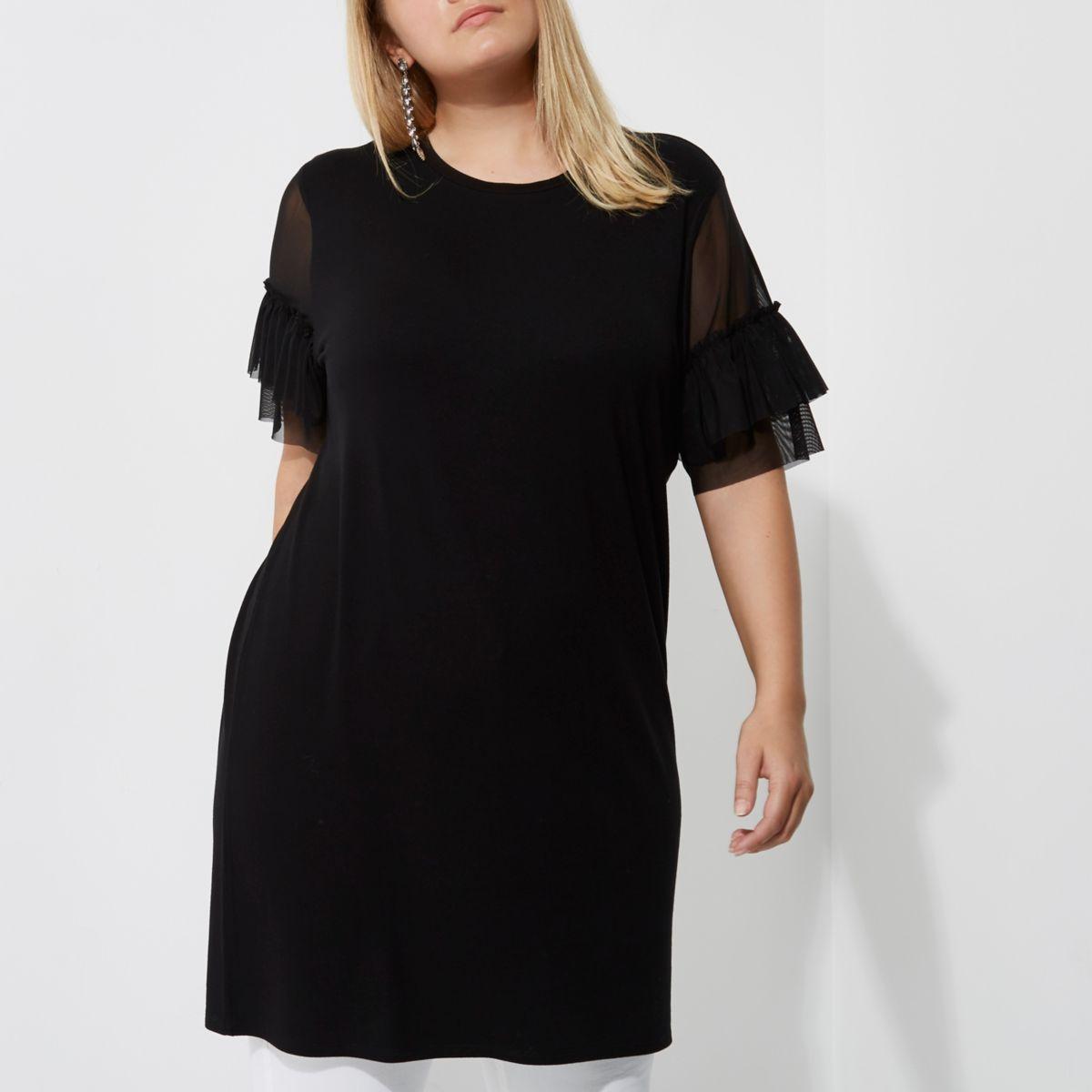 Plus - Langes T-Shirt aus schwarzem Mesh mit Rüschen