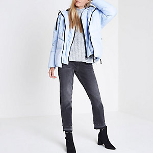 Light blue double layer hooded puffer jacket