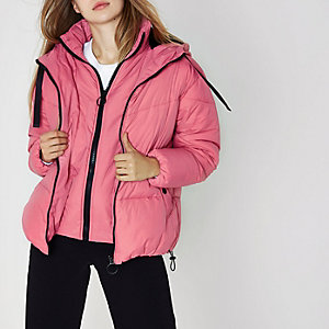 Pink double layer hooded puffer jacket
