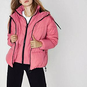 Doudoune rose à capuche double épaisseur