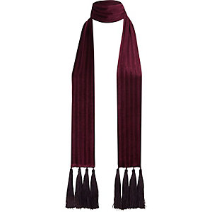 Dark red velvet tassel scarf