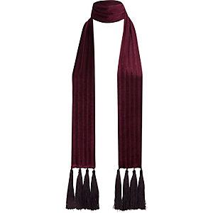 Écharpe en velours rouge foncé à franges